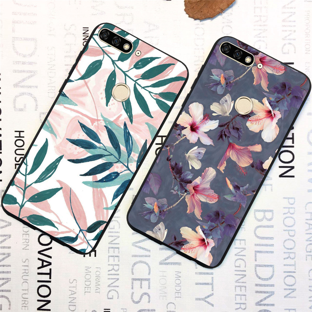 Demelfu <font><b>Case</b></font> For <font><b>Huawei</b></font> Y7 <font><b>2018</b></font> Y7 Prime <font><b>2018</b></font> y7 2017 y7 prime 2017 <font><b>Cases</b></font> Cover Silicone Flower Starry Sky Marble Flamingo Funda image