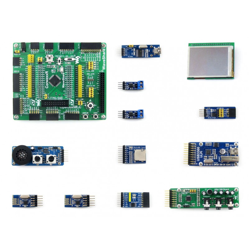 Parts Open405R-C Package B=STM32 Board ARM Cortex-M4 STM32F405,STM32F405RGT6 MCU,STM32 Development Board + 10 Accessory Module K module stm32 arm cortex m3 development board stm32f107vct6 stm32f107 8pcs accessory modules freeshipping open107v package b