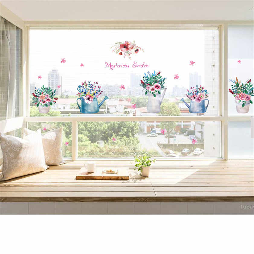 2017  DIY Mysterious Garden Glass Window TV Background Wall Decoration Removable Decorative films 170419 #0817 B