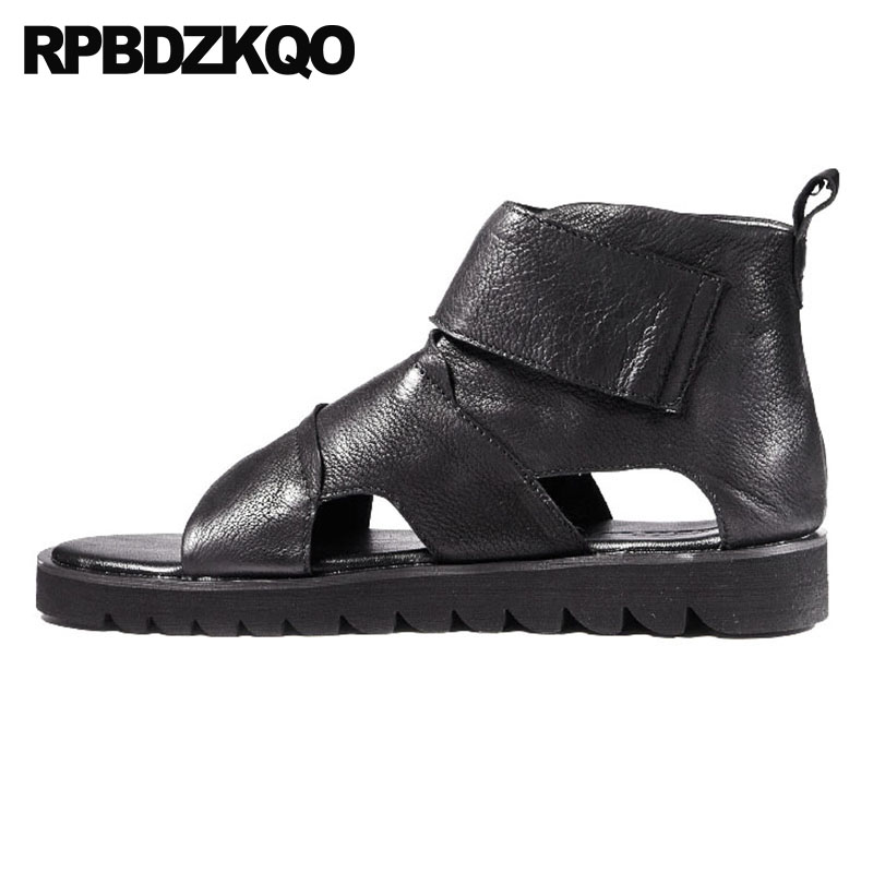 все цены на Boots Italian Japanese Roman Black Flat Casual 2018 Shoes Breathable Men Gladiator Sandals Summer Genuine Leather High Quality онлайн