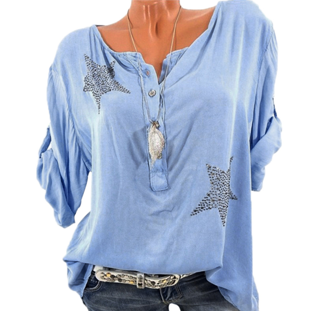 Blouses & Shirts Industrious Women Button Three Quarter Sleeve Five-pointed Star Hot Drill Plus Size Tops Blouse Blusas Mujer De Verano Dropshipping #321