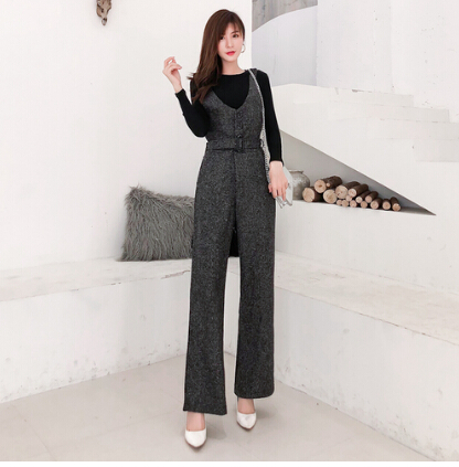 SMTHMA 2019 New arrival Autumn and winter woolen rompers womens jumpsuit+Cotton knit t-shirt women two piece outfits 5