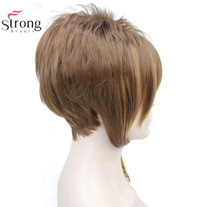 Image 3 - StrongBeauty Light Auburn with Highlights Inclined Bangs Short Straight Synthetic Hair Wig For Girl