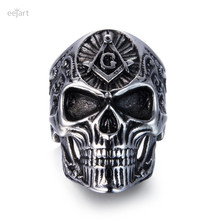 eejart Stainless Steel Masonic skull ring Punk Man's High Quality Personality Men's Ring