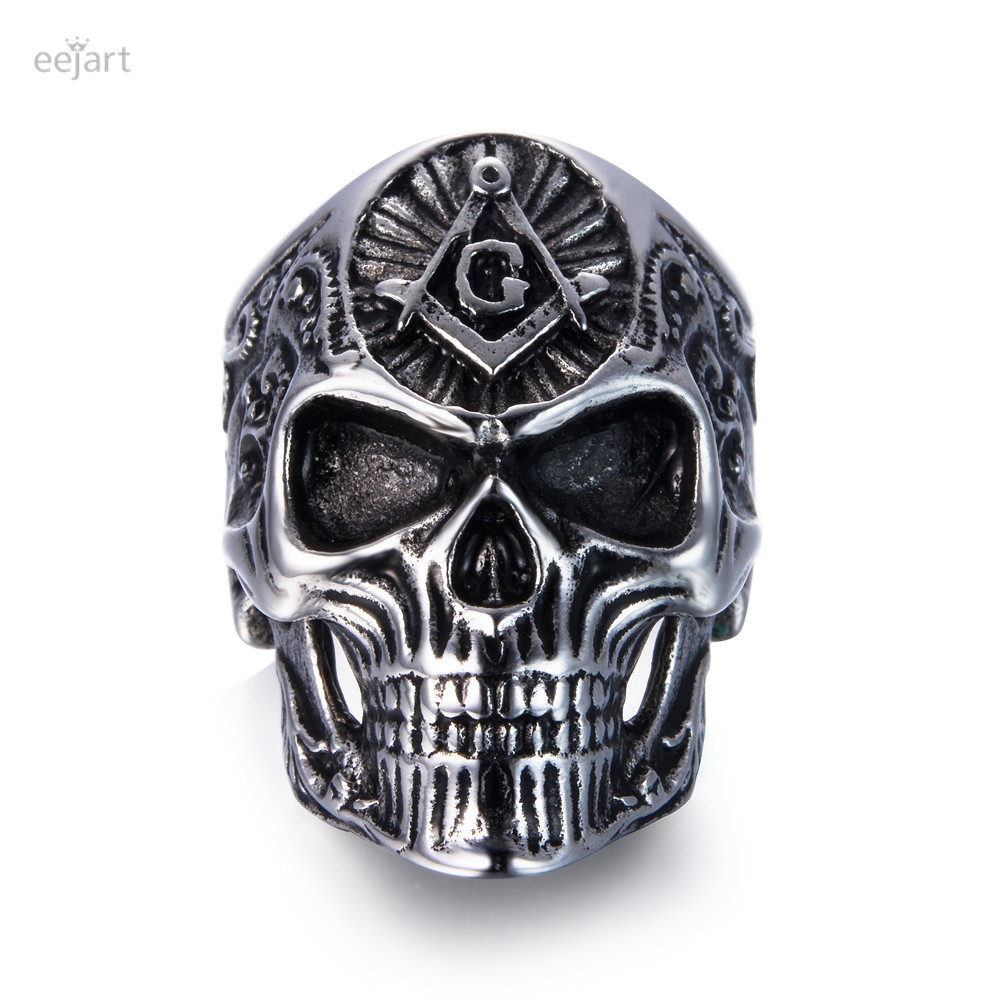 eejart Stainless Steel Masonic skull rings Men's High Quality Personality Punk Ring