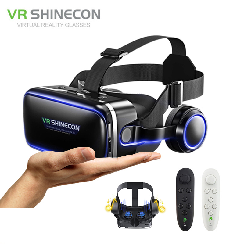 VR shinecon 6.0 Google Cardboard Pro Version VR Virtual Reality 3D Glasses and Smart Bluetooth Wireless Remote Control Gamepad image