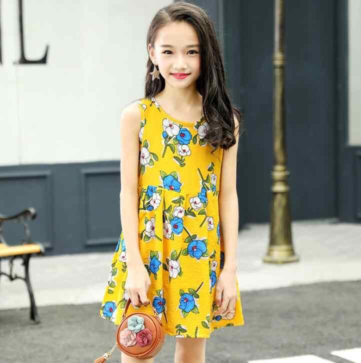 09c92f14121f5 Summer Girls Dress Cotton Bohemian Floral Tunic Beach Dress children kids  casual Sundress For 4 6 8 10 12 14 Years Plus Size
