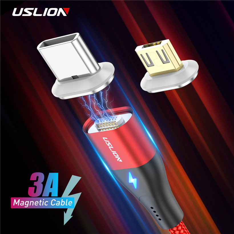 USLION 1M 3A Fast Charging Magnetic Cable Micro USB Type C For Huawei P30 Samsung Xiaomi Cable Wire Type C Magnet Charger Cable|Mobile Phone Cables|   - AliExpress