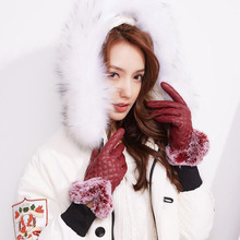BING YUAN HAO XUAN Warm Cashmere Gloves Smartphone Using Fashion New Winter Woman Simulation Leather