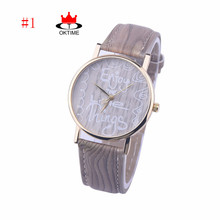 "DHL free 100pcs/lot,Retro Thin wood pattern Leather strap Sweetie letter watch ""Enjoy the little things""  Relogio Feminino"