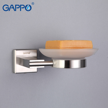 GAPPO  Soap Dishes Wall mounted  Soap Box Soap Basket Holders With Glass Bathroom Accessories Stainless Steel Soap Case