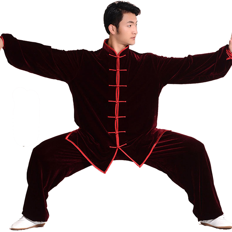 High Quality Tai Chi Clothing Gold Velvet Kung Fu Training Uniforms Winter And Autumn Thicken Performance Suits Free Shipping