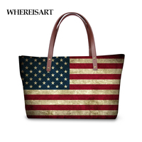 WHEREISART Fashion UK USA Canada Flags Print Women's Top Handle Bag Large Handbag Luxury Ladies Single Totes Bag Bolsa Feminina