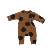 New Arrival Baby Long Sleeve Rompers Dot Print Kids Boys Clothing Autumn Cotton Brown Infant Baby Jumpsuit Costumes Rompers NY01