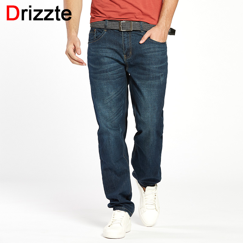 Drizzte Men Jeans Plus Size 28 to 46 Trendy Taper Stretch Relax Jeans Blue Denim Jean Trousers Pants drizzte men s jeans classic stretch blue denim business dress straight slim jeans size 34 35 36 38 pants trousers jean for men