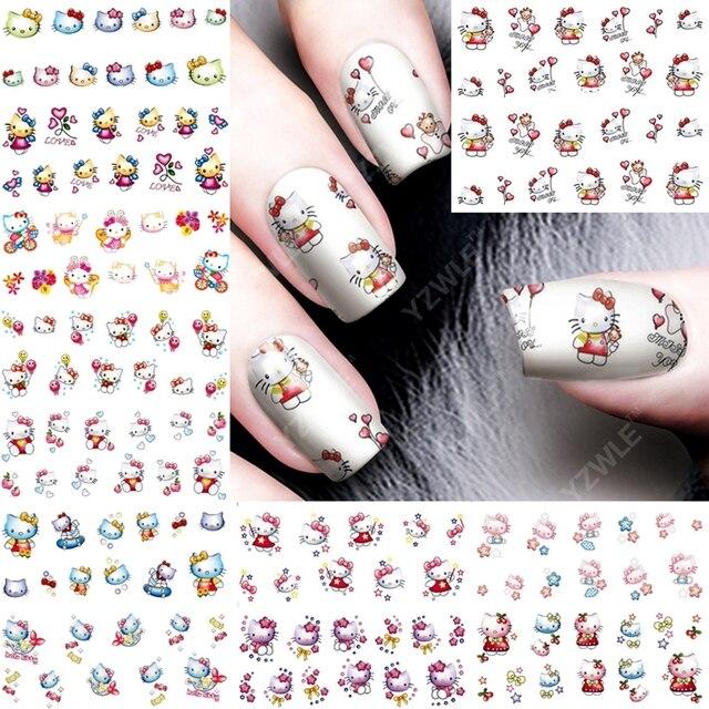 12pcs Lot Hello Kitty Nail Art Stickers Nails Decorations