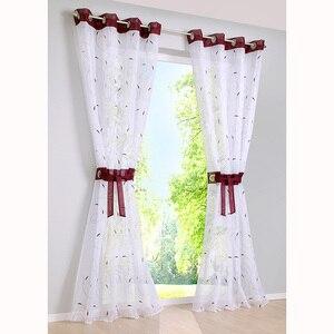 ¡OFERTA 2018! Cortinas para sala de estar, nuevas pantallas bordadas de hilo de alta densidad, tul para ventana de dormitorio, cortina transparente con ojales