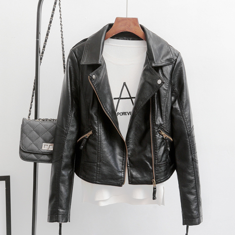 Pu   Leather   Jacket Women Spring Autumn Motorcycle Coat Short Turn-down Collar Zipper Plus Size Slim Faux   Leather   Biker Jacket