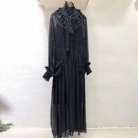 Высокое качество шелковое платье для женщин с длинным рукавом модное черное платье 2019 новое женское черное длинное платье