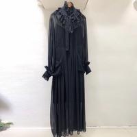 Top Quality Silk Dress for Women Long Sleeve Fashion Black Dress 2019 New Women Black Long Dress