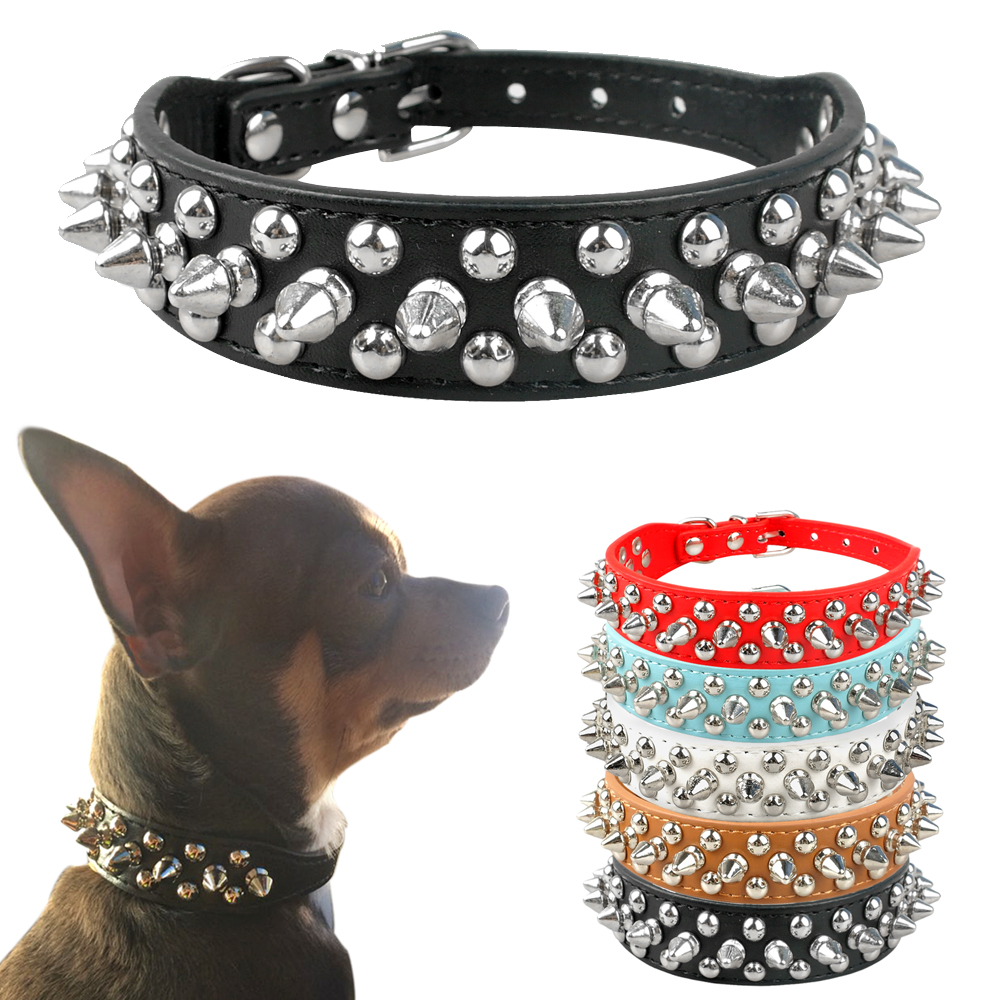 Cool Spiked Rivet Studded PU Leather Dog Pet Collars For Small Medium Dogs And Cats Puppies 5 Colors XXS XS S M L
