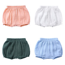 Summer Kids Boys Shorts Solid Color Baby Girl Shorts Cotton Linen Bread short Pants Fashion Newborn Bloomers 6 Months-4 Years(China)