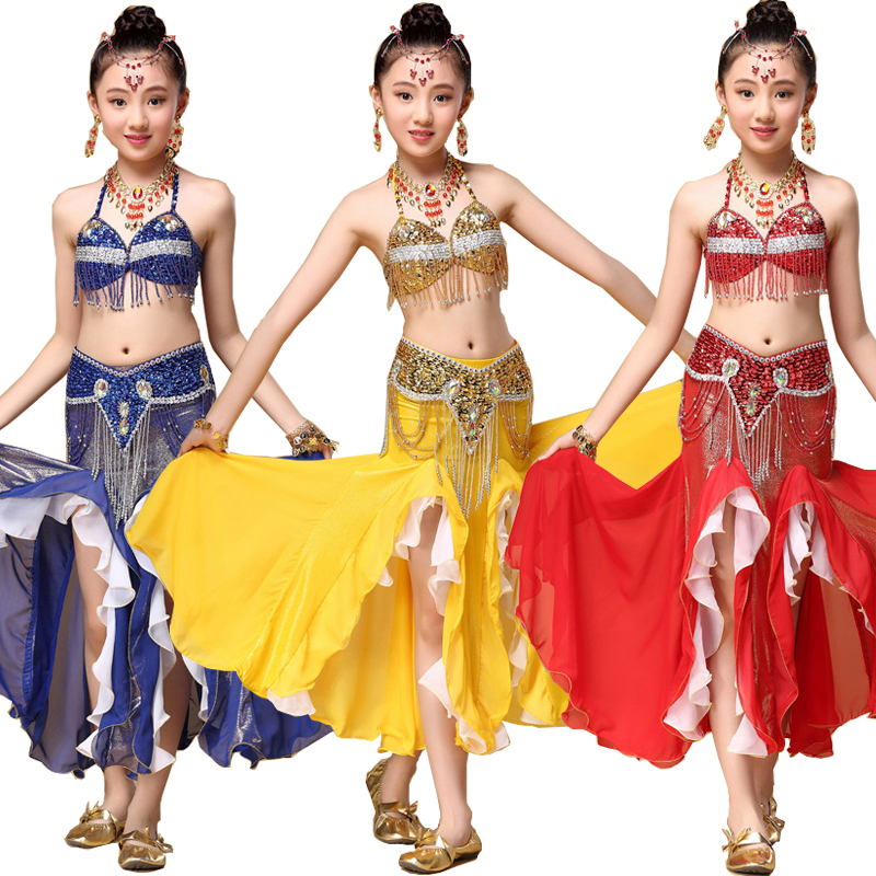 Costume de Danse Du Ventre professionnel 3 pièces Soutien-Gorge et Ceinture et Jupe Danse Enfants Danse Vêtements Enfant Indien Ensemble Enfants Danse Du Ventre Porter