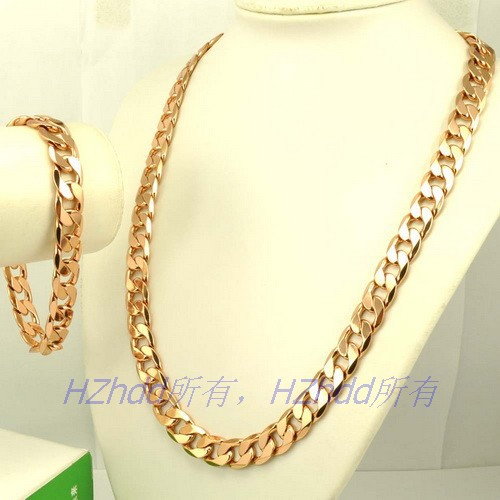 23660cm 12mm 100g NECKLACE 923cm 38g BRACELETREAL MEN 18K ROSE