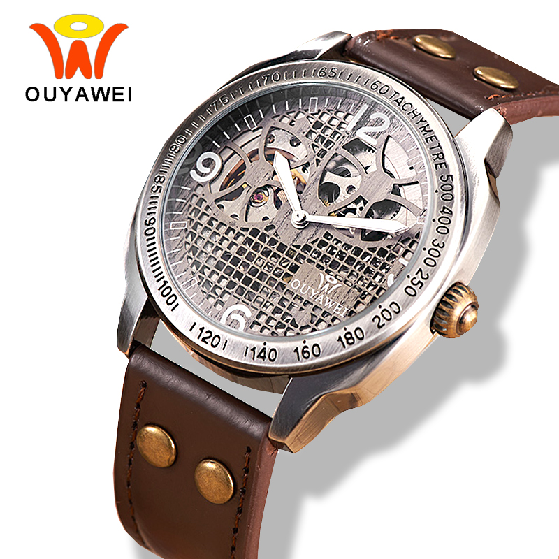 OUYAWEI Mechanical Vintage Watch Hollow Steampunk Style Brown Leather Band Antique Skeleton Mens Automatic Watch reloj hombre ouyawei 2017 montre steampunk bronze skeleton mechanical watches mens antique automatic leather watch mechanical wristwatches