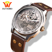 OUYAWEI Mechanical Vintage Watch Hollow Steampunk Style Brown Leather Band Antique Skeleton Mens Automatic Watch reloj hombre