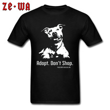 цена Adopt Dont Shop Dog Canis Top T-shirts Pug Terrier 100% Cotton Crew Neck Men Tops Tees Mother's Day Wholesale Tee Shirt онлайн в 2017 году