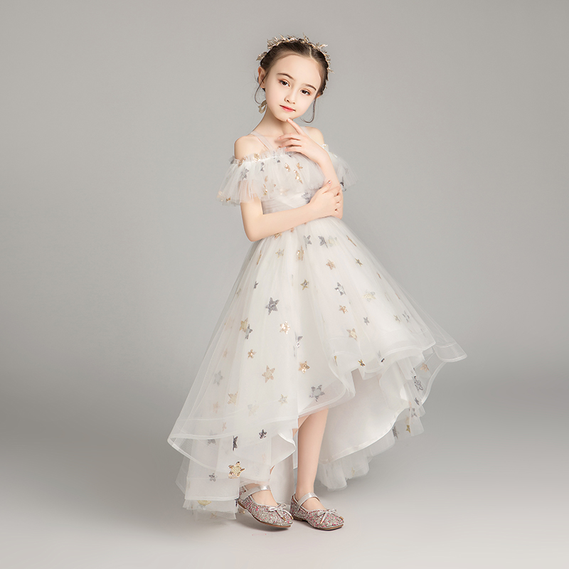 Shin Star Sequined Tulle High Low Kids Prom Dresses 2019 Off The Shoulder Princess  Ruffle Grey Flower Girl Dresses