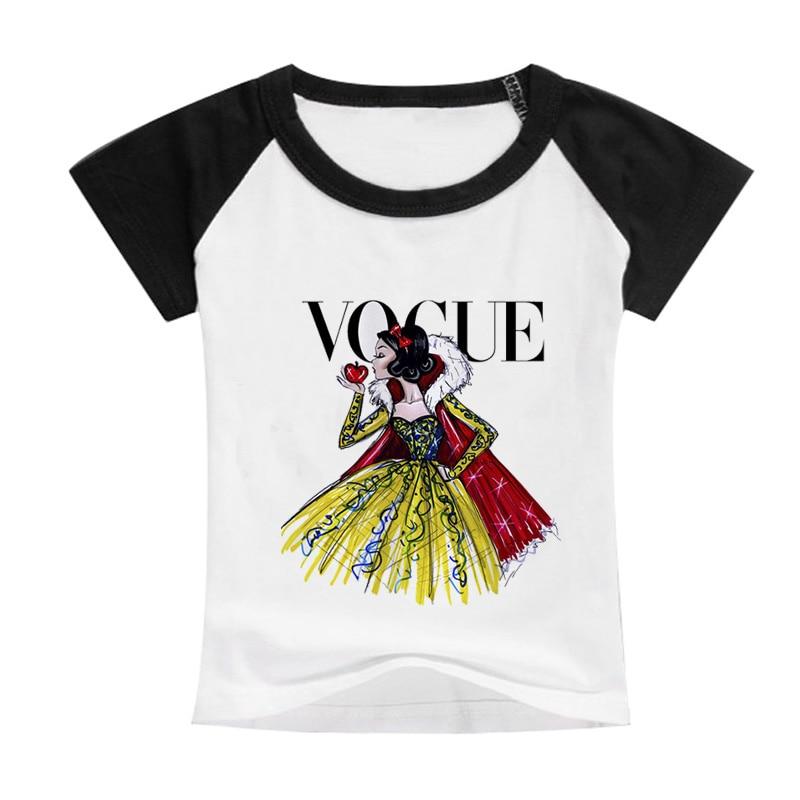 Hot Fashion Princess Cartoon Pattern Cotton Round Neck Short Sleeve T-Shirt Baby Boy Child Quality Summer Casual Soft TShirt