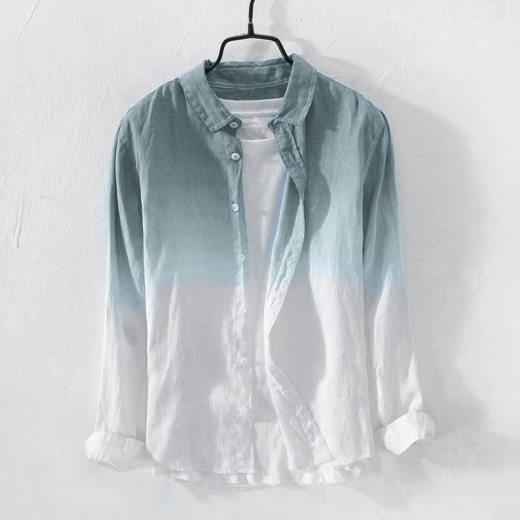 JAYCOSIN hommes chemises été mode revers col suspendus teints dégradé Cool mince respirant coton linge blouses haut ample 516