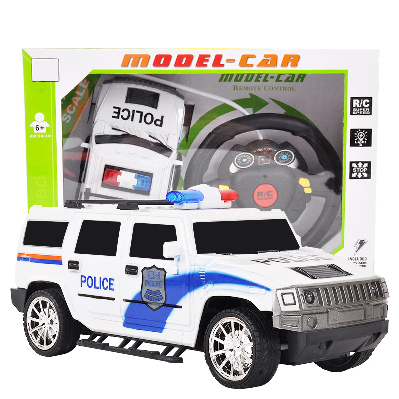 Flytec 1:18 scale Model 4CH boys steering wheel Remote control police car RC Electronic Truck Toy For Kids birthday Gifts