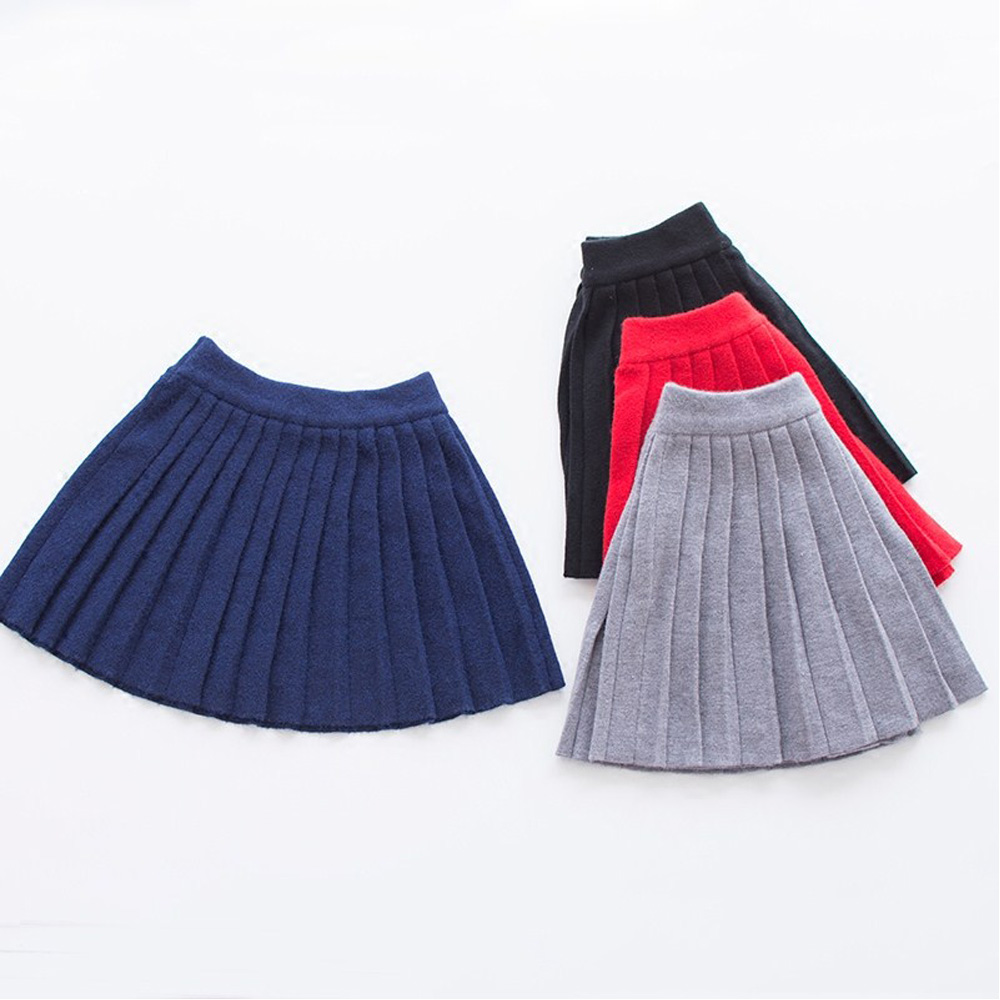 Baby Girls Skirts Knitted Winter Girls Skirts Solid Children Tutu Skirts High Elastic Waist Kids Skirt Casual Girls Clothing palm leaf print elastic waist skirt