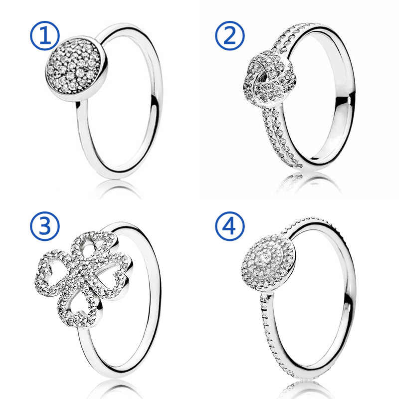 30% 925 Silver Heart clover Radiant Elegance Rings With Crystal For Women Wedding Party Gift Fine Europe Jewelry