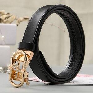 Image 5 - ZLD נשים חגורות יוקרה מפורסם מעצב מותג באיכות גבוהה פרה אמיתי רצועת עור זהב אוטומטי אבזם חגורת עבור שמלה