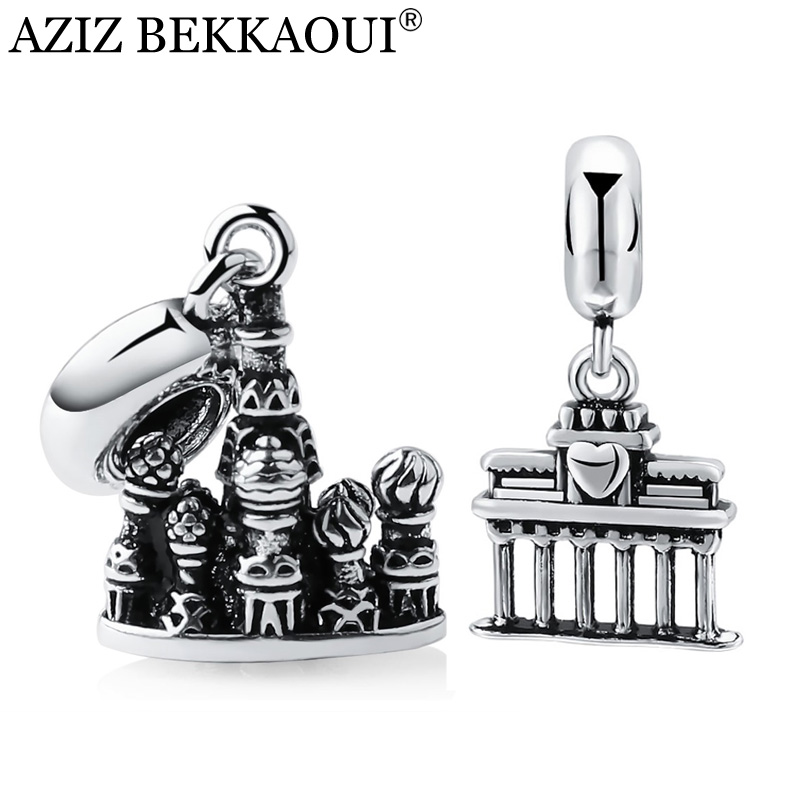 Bracelet Pendants Charms Necklace Silver-Plated Famous-Buildings St. for Basil's Scenery