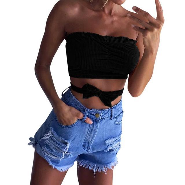 5cc20e4338 2018 Women strapless tube top Sexy Bandge Elastic Boob Bandeau Tube Tops  Bra Lingerie Breast Wrap off shoulder crop tops P45X