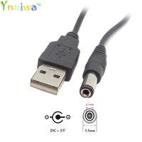 USB 2.0 A typ męski na DC5.5mm * 2.1mm  USD do DC5.5 wtyczka zasilania złącze beczki 5V kabel 12 rdzeń miedziany 80cm długość w Kable zasilające od Elektronika użytkowa na