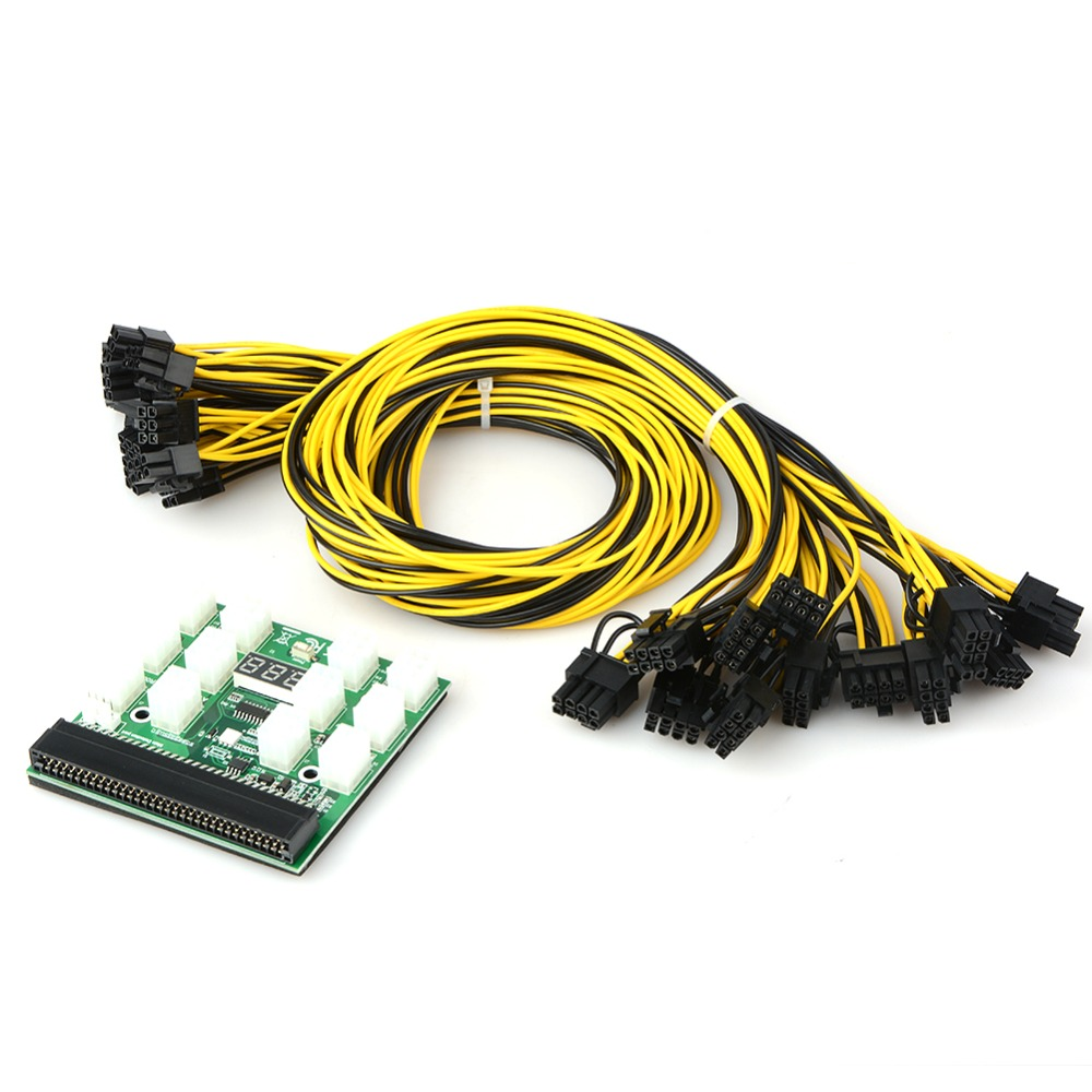 12V GPU/PSU Breakout Board + 12pcs 16AWG PCI E 6Pin to 6+2Pin Cables Ethereum ETH ZEC Mining Power Supply