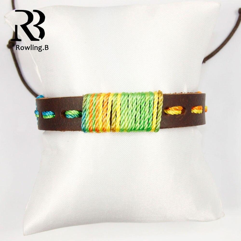 ᑐAbrigo de la vendimia cuerda de cuero cadena brazalete elástico de ...