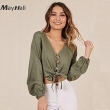MayHall Lantern Sleeve V Neck Linen Shirt Bowknot Tie up Tops Autumn Crop Top with Buttons Women blusas mujer de moda 2018 MH306