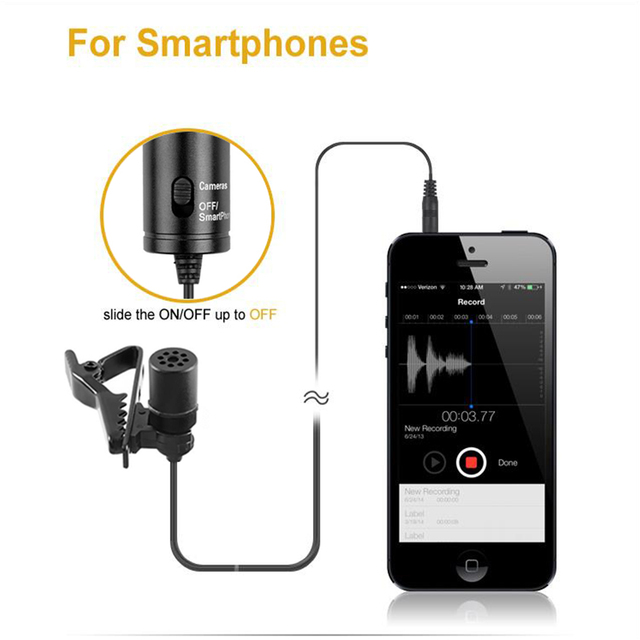 DSLR Canon Nikon iPhone Camcorders Broadcasting Recording Lavalier Omnidirectional Condenser Microphone for Stereo