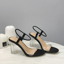 2019 Fashion PVC Jelly Sandals Crystal Open Toed High Heels Women Transparent Heel Sandals Waterproof Beach Sandals lady Shoes