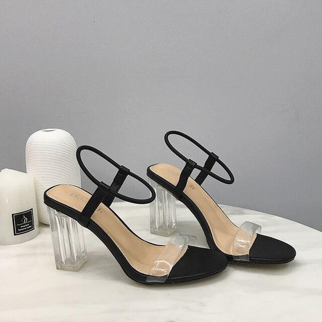 2019 sandalias de moda de cristal abierto tacones altos de Mujer Sandalias de tacón transparente sandalias de playa impermeables zapatos de señora correa de tobillo