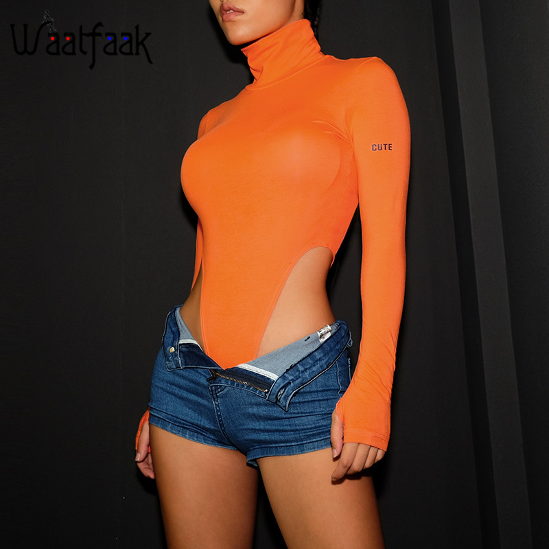Waatfaak Cotton High Waist Long Sleeve Bodysuit Women Turtleneck Bodysuit Orange Bodycon Letter Printed Autumn Sexy   Jumpsuit