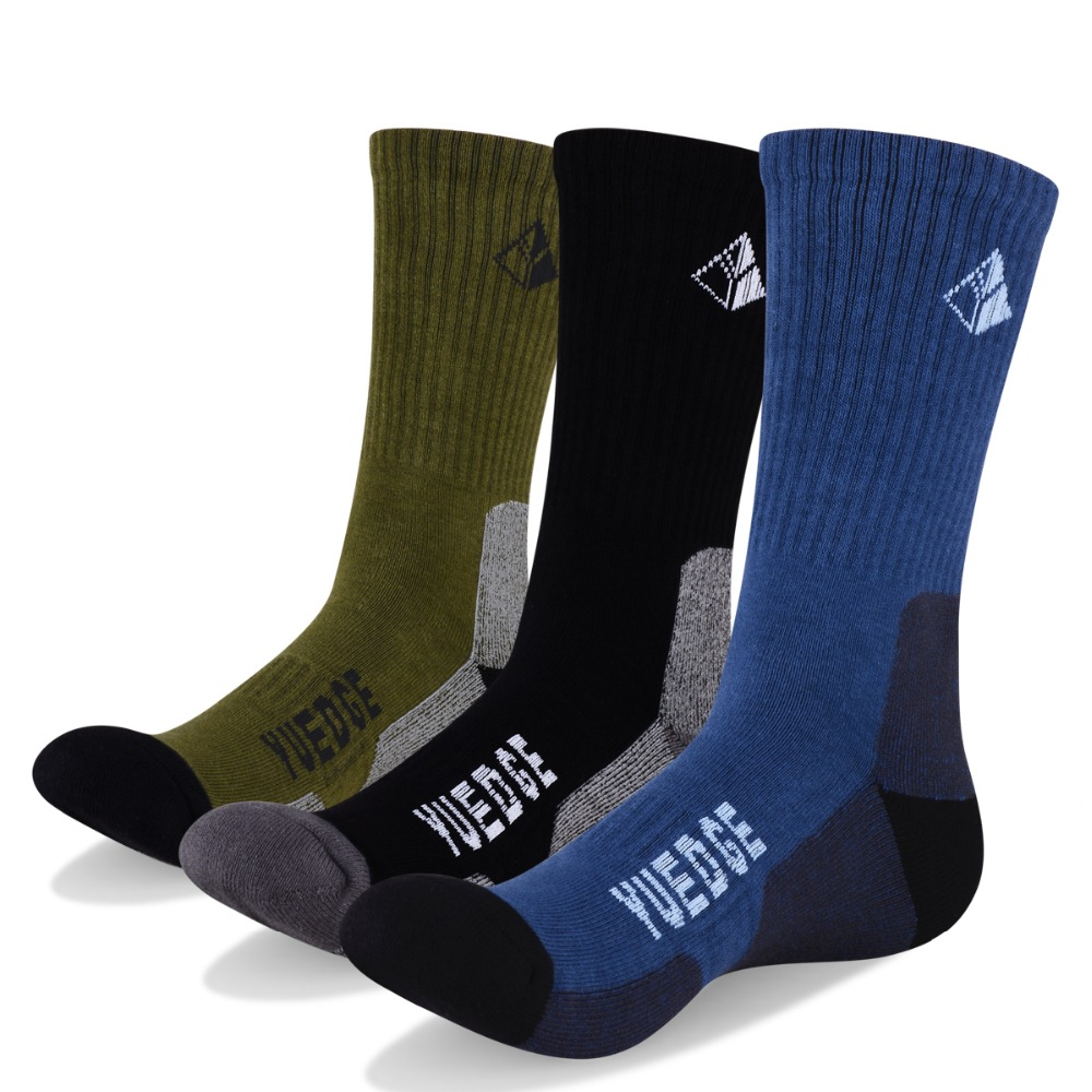 Yuedge Brand Men's Cotton Terry Cushion Crew Socks Outdoor Sports Camping Climbing Trekking Walking Backpacking Hiking Socks