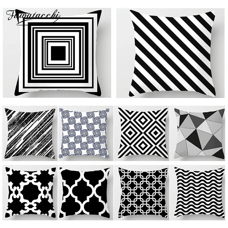 Fuwatacchi Geométrica Impresso Capa de Almofada Preto e Branco Almofadas Capa Casa Decorativo Sala de estar Sofá Lance Fronha